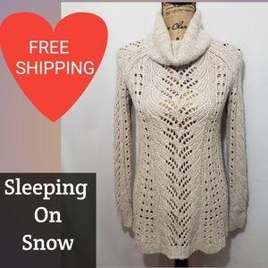 ANTHRO  Sleeping On Snow Womans Beige Cowl Neck